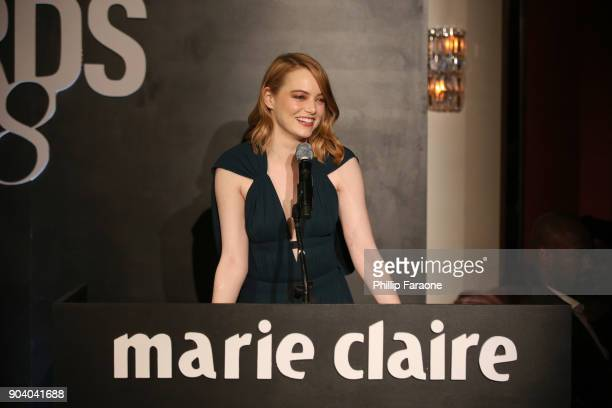 Emma Stone speaks on stage at the Marie Claire's Image Makers Awards 2018 on January 11 2018 in West Hollywood California