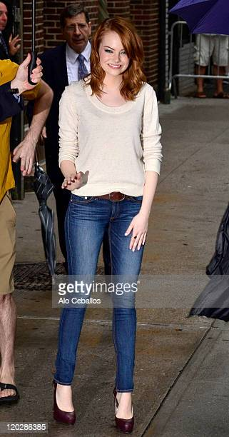 Emma Stone visits Late Show With David Letterman at the Ed Sullivan Theater on August 3 2011 in New York City