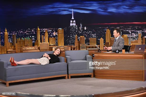 Emma Stone Visits The Tonight Show Starring Jimmy Fallon at Rockefeller Center on October 14 2014 in New York City