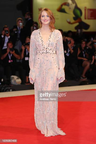 Emma Stone walks the red carpet ahead of the 'The Favourite' screening during the 75th Venice Film Festival at Sala Grande on August 30 2018 in...