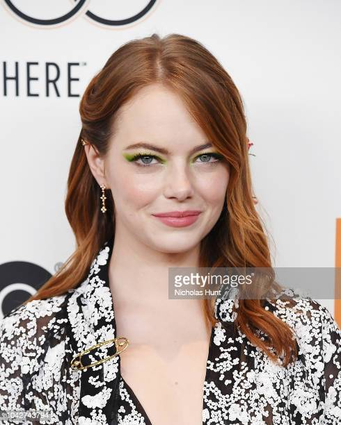Emma Stone walks the red carpet at the 56th New York Film Festival Opening Night Premiere Of The Favourite at Alice Tully Hall Lincoln Center on...
