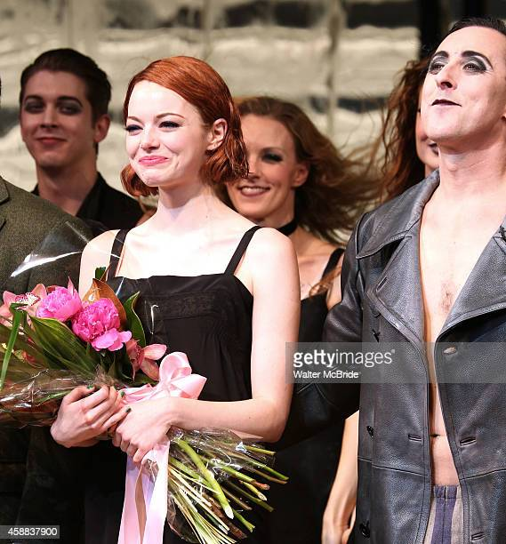 Emma Stone with Alan Cumming during the curtain call for her debut performance in Broadway's 'Cabaret' at Roundabout Theatre Company's Studio 54 on...