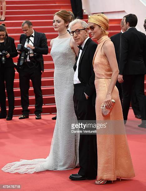 Emma Stone Woody Allen and Parker Posey attend the 'Irrational Man' Premiere during the 68th annual Cannes Film Festival on May 15 2015 in Cannes...