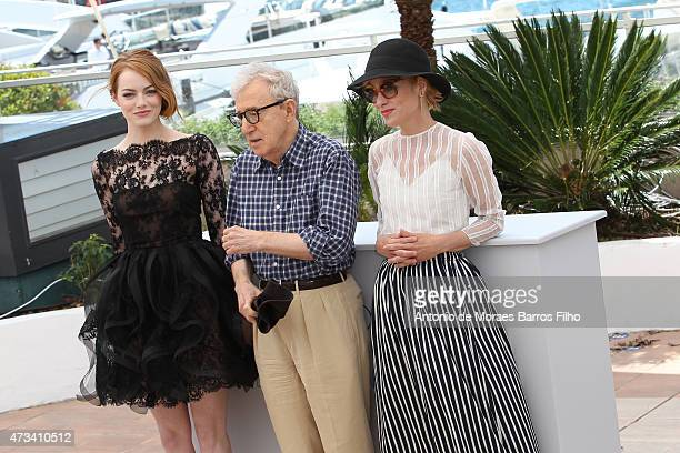 """Emma Stone, Woody Allen, Parker Posey attend the """"Irrational Man"""" photocall during the 68th annual Cannes Film Festival on May 15, 2015 in Cannes,..."""