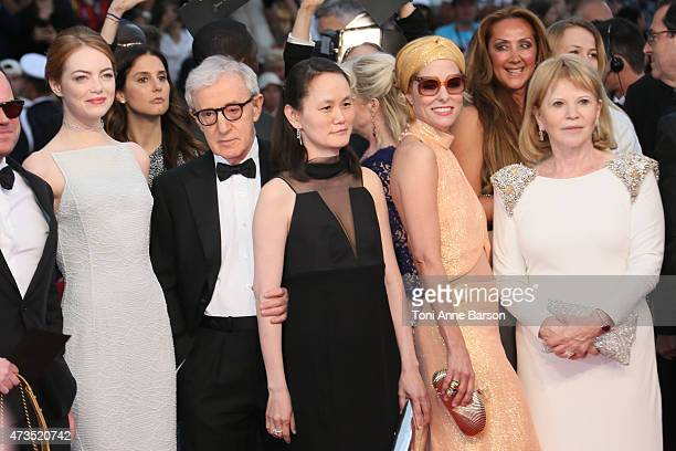"""Emma Stone, Woody Allen, Soon-Yi Previn and Parker Posey attends the """"Irrational Man"""" premiere during the 68th annual Cannes Film Festival on May 15,..."""
