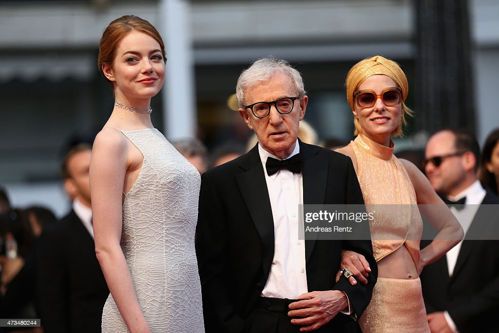 Emma Stone,Woody Allen and Parker Posey attend the Premiere of 'Irrational Man' during the 68th annual Cannes Film Festival on May 15, 2015 in Cannes, France.