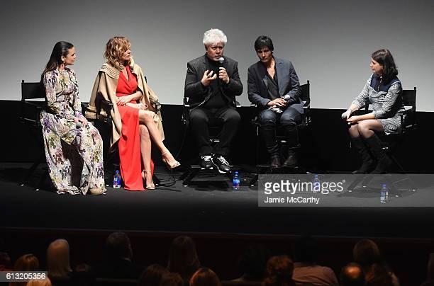 Emma Suarez Adriana Ugarte Director Pedro Almodovar the interpreter and Florence Almozini speak onstage at the Julieta intro and QA during the 54th...