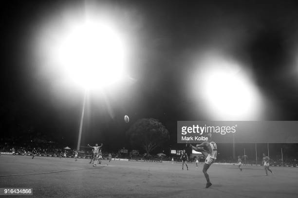 Emma Swanson of the Giants kicks at goal during the round 20 AFLW match between the Greater Western Sydney Giants and the Carlton Blues at Drummoyne...