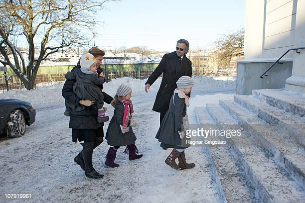 Emma Tallulah Behn Princess Martha Louise of Norway Leah Isadora Behn Maud Angelica Behn and Ari Behn attend the funeral of his grandmother AnneMarie...