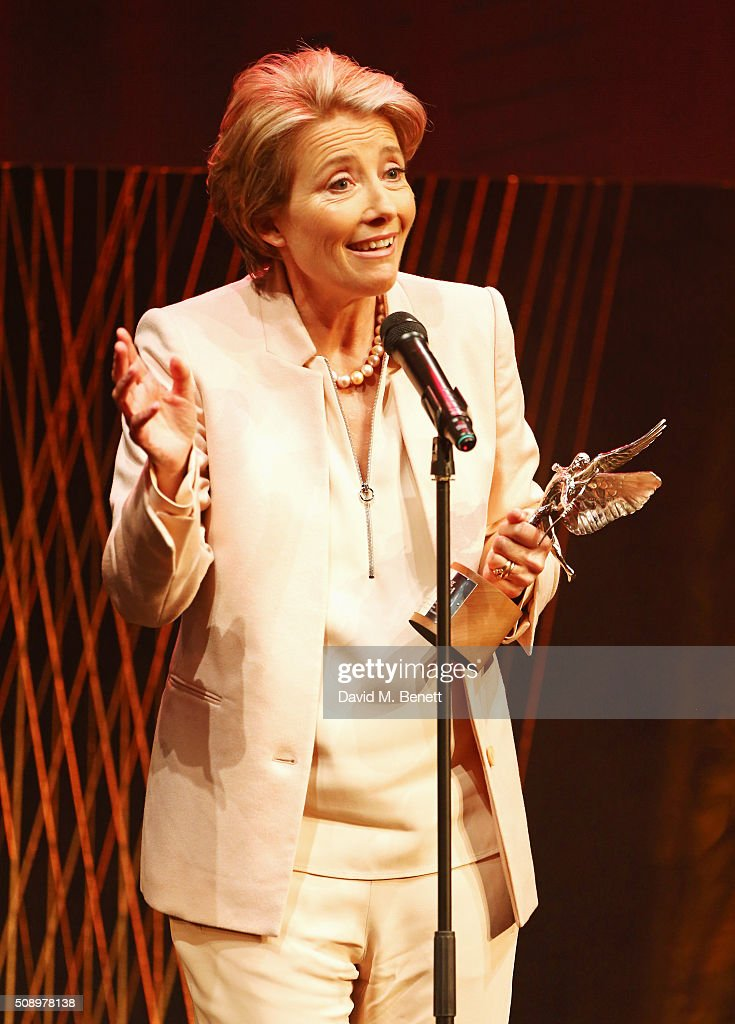 Emma Thompson accepts the Comedy Award for 'The Legend Of Barney Thomson' at the London Evening Standard British Film Awards at Television Centre on February 7, 2016 in London, England.