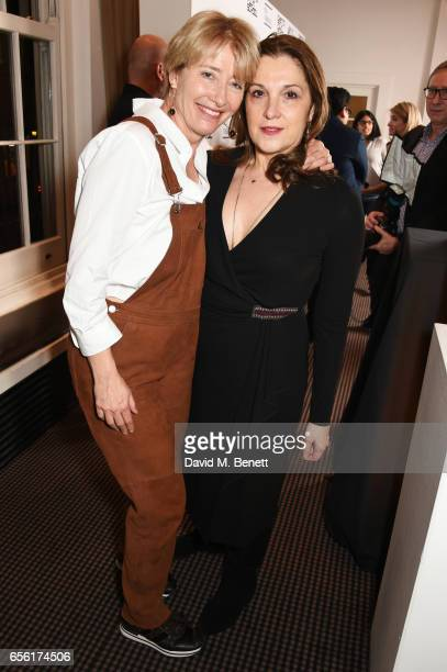 Emma Thompson and Barbara Broccoli attend a cocktail reception hosted by 20th Century Fox to celebrate The Ghetto Film School at BAFTA Piccadilly on...