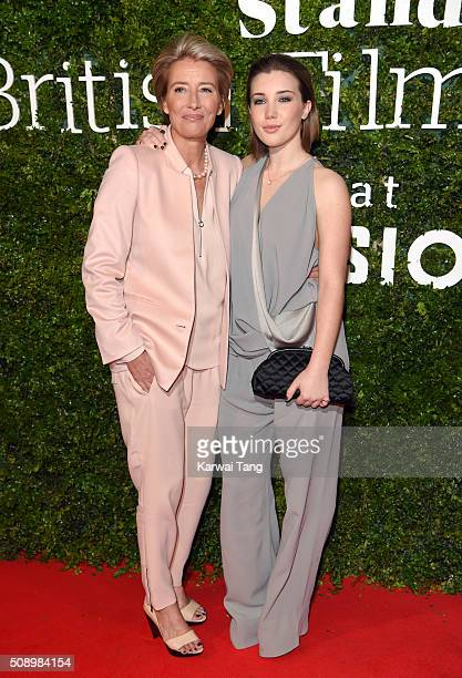 Emma Thompson and daughter Gaia Romilly Wise attend the London Evening Standard British Film Awards at Television Centre on February 7 2016 in London...
