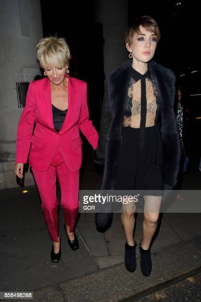 Emma Thompson and daughter Gaia Romilly Wise leaving The Delauney restaurant on October 6 2017 in London England