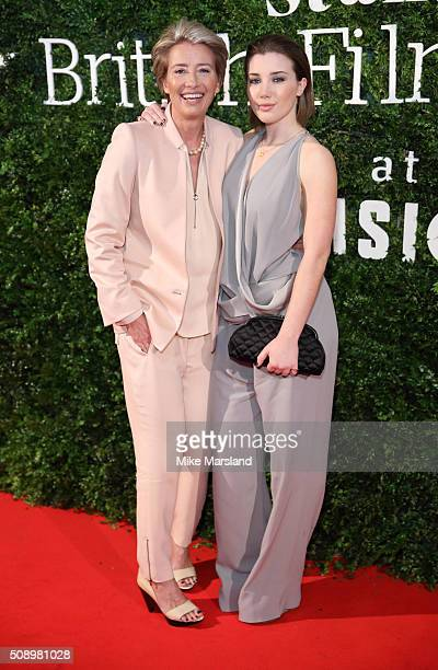 Emma Thompson and Gaia Romilly Wise attend the London Evening Standard British Film Awards at Television Centre on February 7 2016 in London England