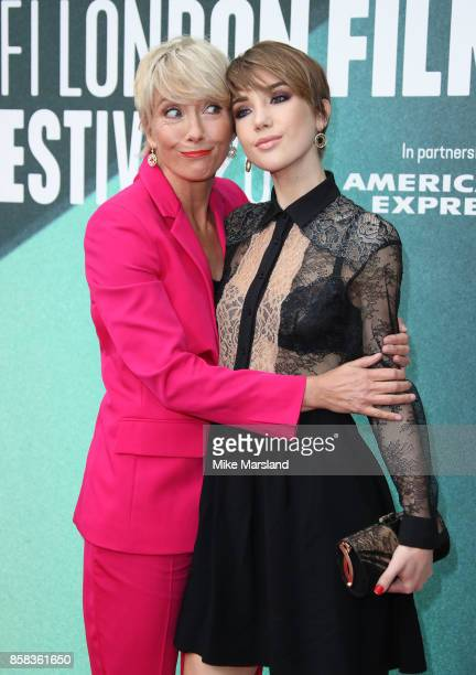 Emma Thompson and Gaia Wise attend the Laugh Gala UK Premiere of The Meyerowitz Stories during the 61st BFI London Film Festival on October 6 2017 in...