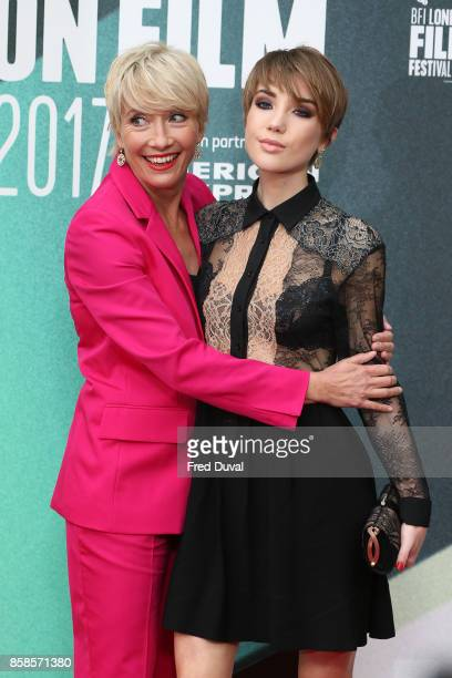 Emma Thompson and Gaia Wise attend The Meyerowitz Stories UK Premiere during the 61st BFI London Film Festival at Embankment Gardens Cinema on...