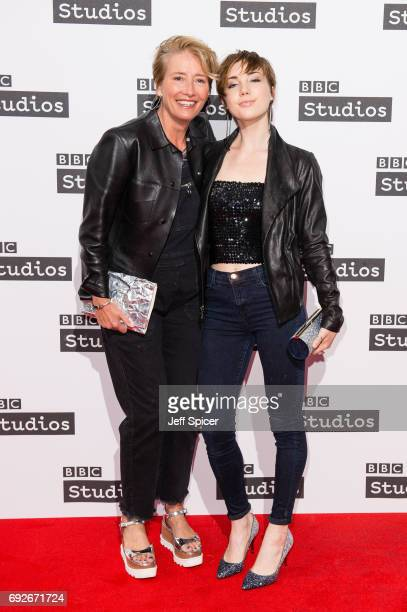 Emma Thompson and Gaia Wise attend the Ronnie Barker comedy lecture with Ben Elton at BBC Broadcasting House on June 5 2017 in London England