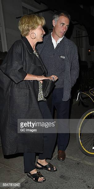 Emma Thompson and Greg Wise leave 34 restaurant in Mayfair on May 27 2016 in London England