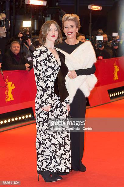 Emma Thompson and her daughter Gaia Romilly Wise attend the 'Alone in Berlin' premiere during the 66th Berlinale International Film Festival Berlin...