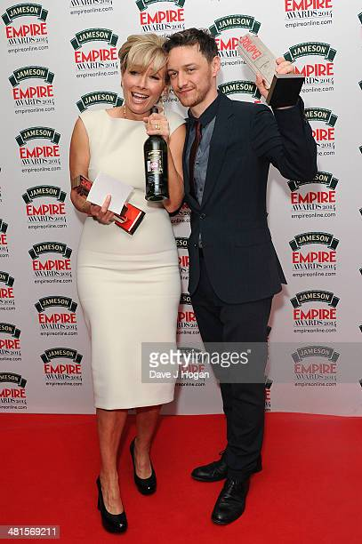 Emma Thompson and James McAvoy poses in the press room at the Jameson Empire Film Awards 2014 at The Grosvenor House Hotel on March 30 2014 in London...