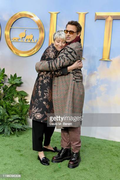 """Emma Thompson and Robert Downey Jr. Attend a special screening of """"Dolittle"""" at Cineworld Leicester Square on January 25, 2020 in London, England."""