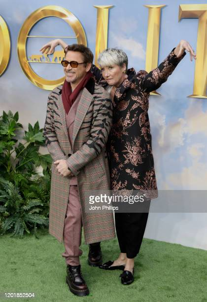 Emma Thompson and Robert Downey Jr attend the Dolittle special screening at Cineworld Leicester Square on January 25 2020 in London England