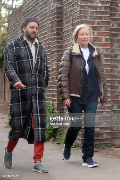 Emma Thompson and Shazad Latif seen attempting to go to lunch at The Spaniards Inn in Hampstead, but then appearing to be turned away for not having...