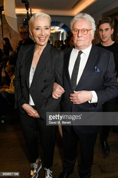 """Emma Thompson and Sir Richard Eyre attend a special screening of new BBC Two drama """"King Lear"""" at The Soho Hotel on March 28, 2018 in London, England."""