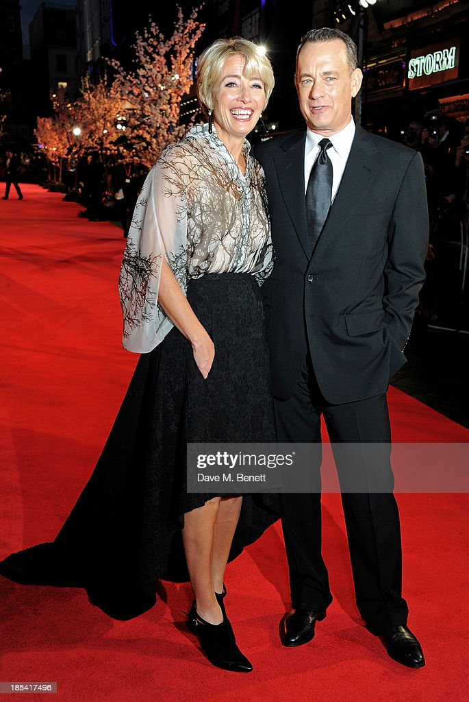 Emma Thompson (L) and Tom Hanks attend the Closing Night Gala European Premiere of 'Saving Mr Banks' during the 57th BFI London Film Festival at Odeon Leicester Square on October 20, 2013 in London, England.