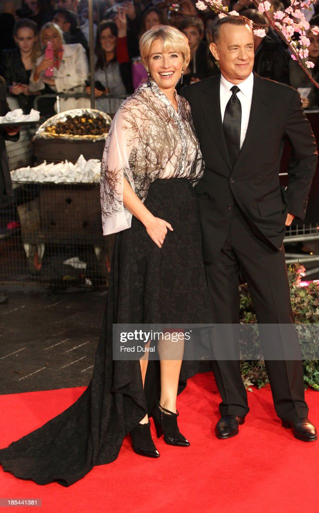 Emma Thompson and Tom Hanks attends the Closing Night Gala European Premiere of 'Saving Mr Banks' during the 57th BFI London Film Festival at Odeon Leicester Square on October 20, 2013 in London, England.