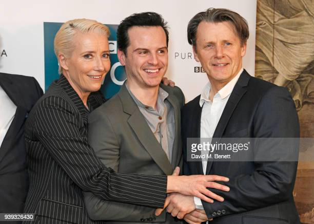 Emma Thompson Andrew Scott and Anthony Calf attend a special screening of new BBC Two drama 'King Lear' at The Soho Hotel on March 28 2018 in London...