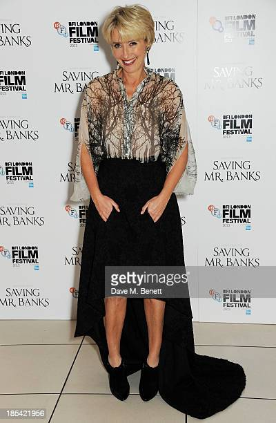 """Emma Thompson attends the Closing Night Gala European Premiere of """"Saving Mr Banks"""" during the 57th BFI London Film Festival at Odeon Leicester..."""