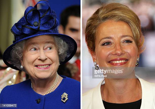 In this composite image a comparison has been made between Queen Elizabeth II and actress Emma Thompson Emma Thompson will reportedly play Queen...