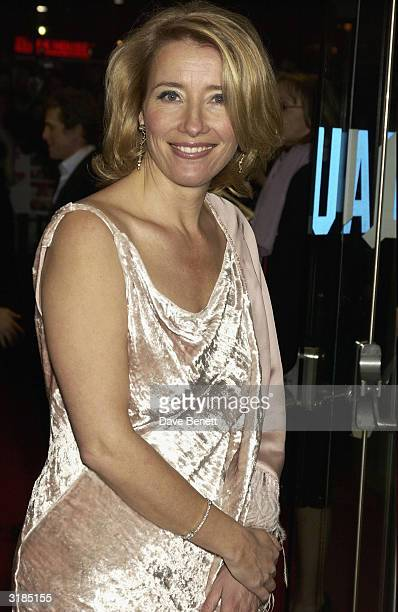 "Emma Thompson attends the UK Premiere of ""Love Actually"" at the Odeon, Leicester Square on November 17, 2003 in London."