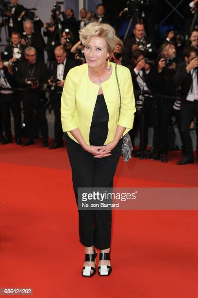 Emma Thompson departs the 'The Meyerowitz Stories' screening during the 70th annual Cannes Film Festival at Palais des Festivals on May 21 2017 in...
