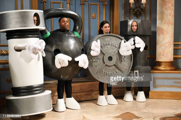 LIVE Emma Thompson Episode 1766 Pictured Mikey Day as a Shake Weight Kenan Thompson as a kettle bell Melissa Villaseñor as a barbell weight and Kyle...