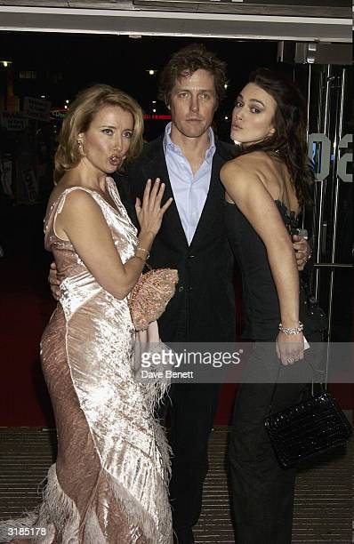 "Emma Thompson, Hugh Grant and Keira Knightley attend the UK Premiere of ""Love Actually"" at the Odeon, Leicester Square on November 17, 2003 in London."