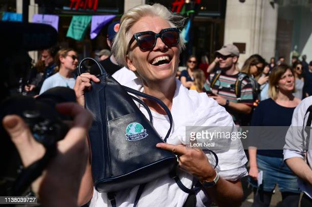 Emma Thompson joins the Extinction Rebellion protest at Oxford Circus on April 19 2019 in London England The environmental campaign group has blocked...