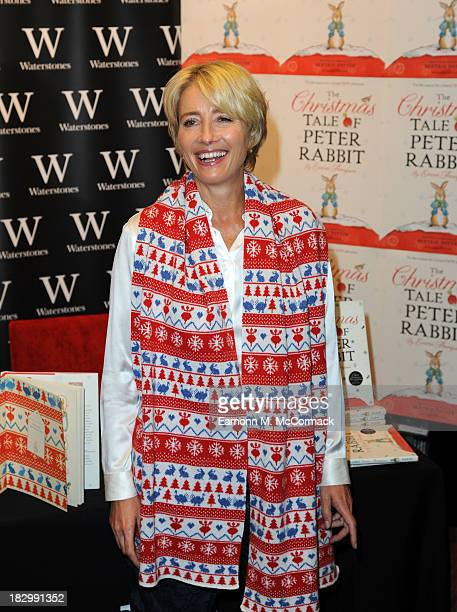 Emma Thompson meets fans and signs copies of her book 'The Christmas Tale Of Peter Rabbit' at WaterstonesKings Road on October 3 2013 in London...
