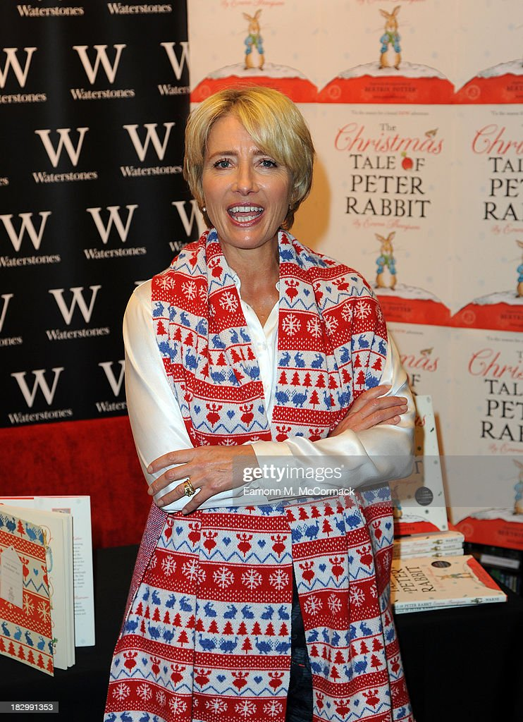Emma Thompson meets fans and signs copies of her book - 'The Christmas Tale Of Peter Rabbit' at Waterstones,Kings Road on October 3, 2013 in London, England.