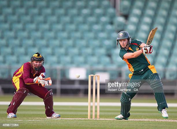 Emma Thompson of the Tasmania Roar bats during the WT20 match between Tasmania and Queensland Aurora Stadium on November 28 2014 in Launceston...