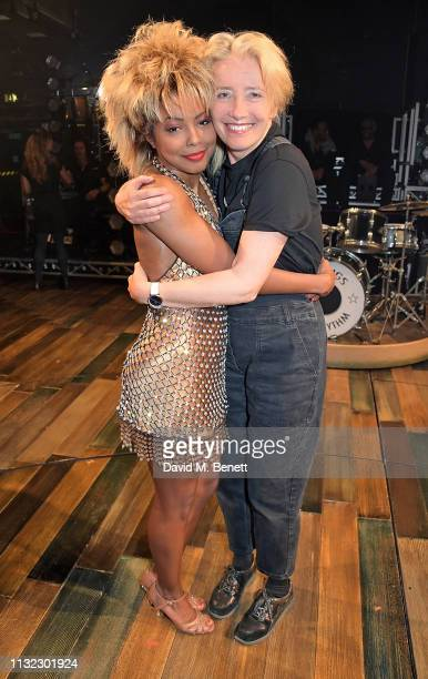 Emma Thompson poses backstage with Adrienne Warren from the West End production of Tina The Tina Turner Musical at The Aldwych Theatre on March 23...
