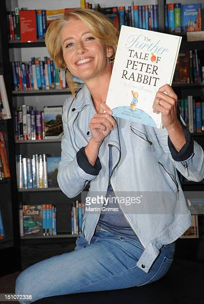Emma Thompson presented her new children's book The Further Tale of Peter Rabbit inspired by the original tales of Beatrix Potter at Watertsone's...