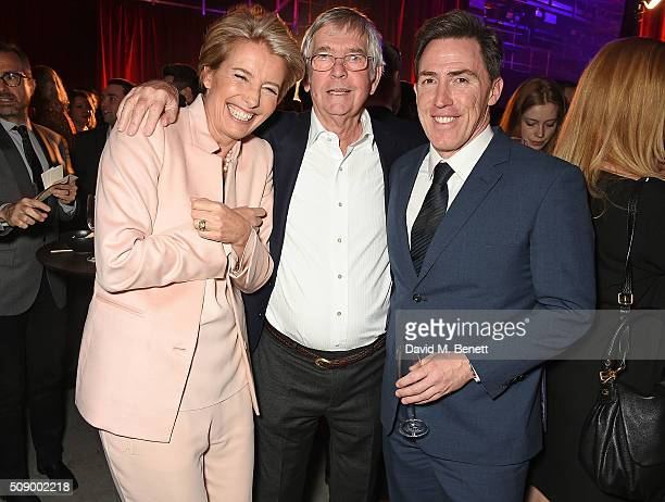 Emma Thompson Sir Tom Courtenay and Rob Brydon attend a champagne reception at the London Evening Standard British Film Awards at Television Centre...