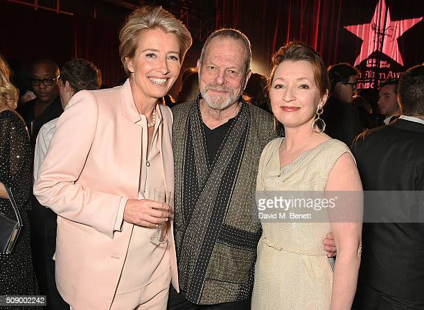 Emma Thompson Terry Gilliam and Lesley Manville attend a champagne reception at the London Evening Standard British Film Awards at Television Centre...