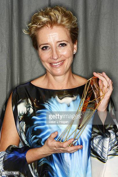 Emma Thompson winner of the Richard Harris Award poses at an after party for the Moet British Independent Film Awards 2014 at Old Billingsgate Market...