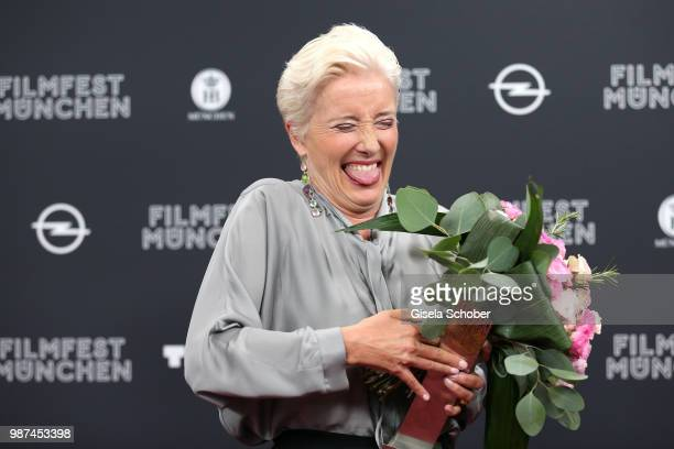 Emma Thompson with her award at the Cine Merit Award Gala during the Munich Film Festival 2018 at Gasteig on June 29 2018 in Munich Germany