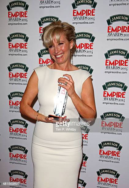 Emma Thompson with the Best Actress award for Saving Mr Banks during the Jameson Empire Awards 2014 at the Grosvenor House Hotel on March 30 2014 in...