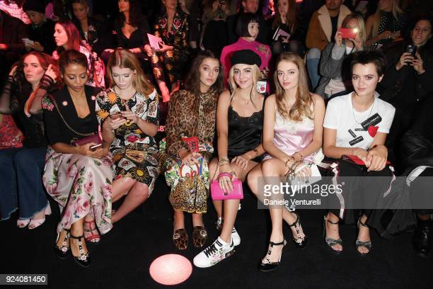 Emma Thynn Kitty Spencer Eliza Moncreiffe Lily Moncreiffe Idina Moncreiffe and Alexandra Moncreiffe attend the Dolce Gabbana show during Milan...