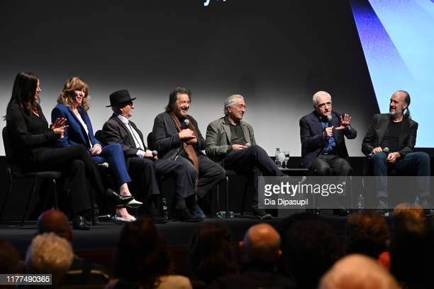 Emma Tillinger Koskoff Jane Rosenthal Joe Pesci Al Pacino Robert De Niro Martin Scorsese and Kent Jones at The Irishman press conference during the...